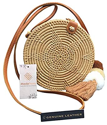 Rattan Bags for Women | Woven Straw Crossbody Wicker Purse with Genuine Leather