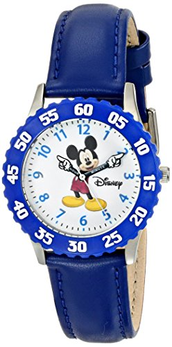 Disney Kids' W000230 Mickey Mouse Stainless Steel Time Teacher Watch with Blue Leather Band (Leather Teacher Watch Time)