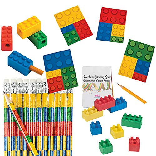 Building Bricks Party Favor Bundle for 24 Kids (96 Total Pieces) | Pencils, Colored Block Rubber Erasers, Pencil Sharpeners & Notepads | Birthdays, Class Prizes, Goody Bags, Stocking Stuffers]()