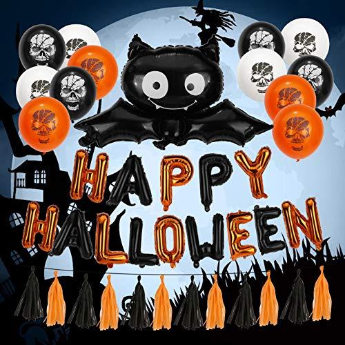 40PCS Halloween Balloons Banner Kit, Echeer Halloween Decorations Halloween Party Supplies Include Halloween Banner/Latex Balloons/Paper Garlands/Star, Pumpkin&Bat Inflatable -