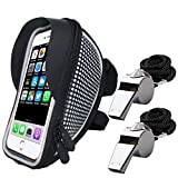 "Handlebar Bag, SourceTon Waterproof Bicycle Frame Bag for 4""- 5.5"" with Sun Visor, Bike Front Frame Bag Phone Holder, Phone Case Touch Screen, Bike Frame Strap Attachment Mount, Bonus with 2 Whistles"