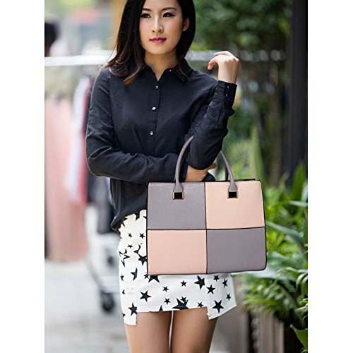 Women's LeahWard® Large XL GREY Large NUDE Check Bags Bag Genuine Designer Leather Shoulder Faux Tote 153 OT0YAFrq0w