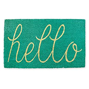 "DII Indoor/Outdoor Natural Coir Easy Clean Rubber Back Entry Way Doormat For Patio, Front Door, All Weather Exterior Doors, 18 x 30"" - Aqua Hello"