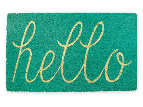 "DII Indoor/Outdoor Natural Coir Easy Clean Rubber Non Slip Backing Entry Way Doormat For Patio, Front Door, All Weather Exterior Doors, 18 x 30"" - Aqua Hello"