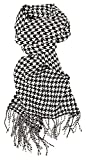 #10: Love Lakeside-Women's Cashmere Feel Winter Plaid Scarf (One, Black and White Houndstooth)