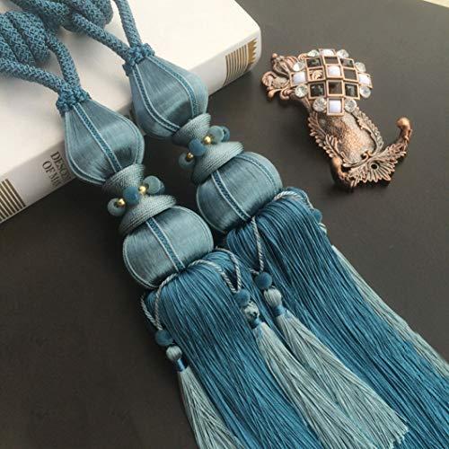 XDH-RTS Hand-Woven Silk Cirtain Tie Backs Ropes Hanging Ball Curtain Holder Drapery Fringed Holdbacks Pendant Home Decor,2 Pcs