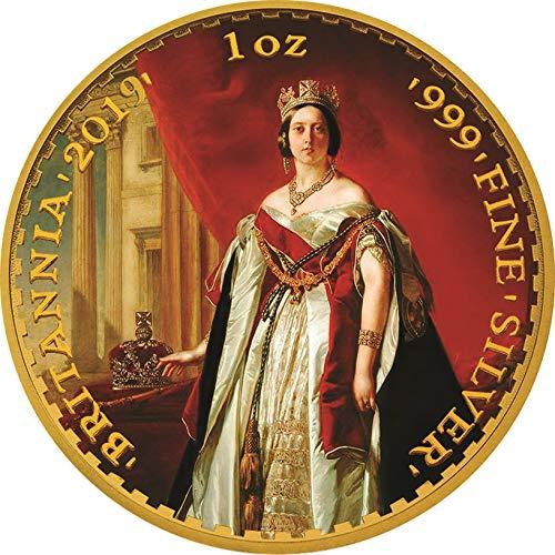 (2019 GB Patriotic Flag PowerCoin QUEEN VICTORIA 200 Anniversary Britannia Gilded 1 Oz Silver Coin 2£ Pound United Kingdom BU Brilliant Uncirculated)