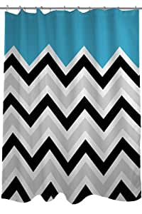 "Bentin Home Decor Chevron Solid Shower Curtain by OBC, Standard 71""x 77"", Aqua/Black/White"