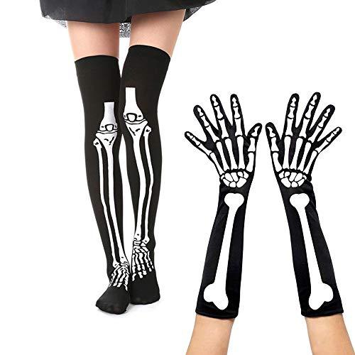 - Hosfairy 1 Pair Skeleton Socks and 1 Pair Full Finger Skeleton Gloves for Halloween Cosplay Costume