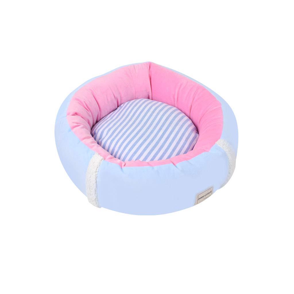bluee Round 55x55x16cm bluee Round 55x55x16cm PLDDY Dog Nest, Pet Bed,Removable Washable, All Seasons Usable, Comfortable Warmer Crystal Velvet, Small MediumTeddy Pet Sofa, Schnauzer Keke Pet Nest, Cat Nest
