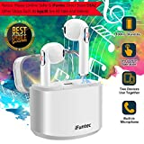 Wireless Earbuds, iFuntec Bluetooth Headphones with Mic Compact in-Ear Headphones Mini Cordless Sports Earphones Stereo True Wireless Earbuds with Portable Charging Case for Android Smartphones White