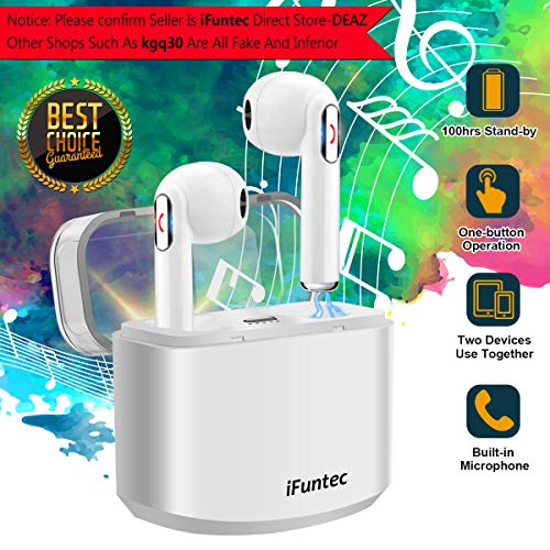 Wireless Earbuds, iFuntec Bluetooth Headphones with Mic Compact In-Ear Headphones Mini Cordless Earphones Stereo...