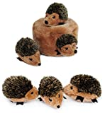 ZippyPaws Hedgehog Den with 3 Hedgehogs, Hide and Seek Plush Dog Toy Plus 3 Extra Hedgehog Refills