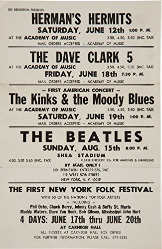 (Gatsbe Exchange Moody Blues Beatles and Dave Clark 5 Musician Concert Poster Rock and Roll Legends Live Forever 12 X 18)