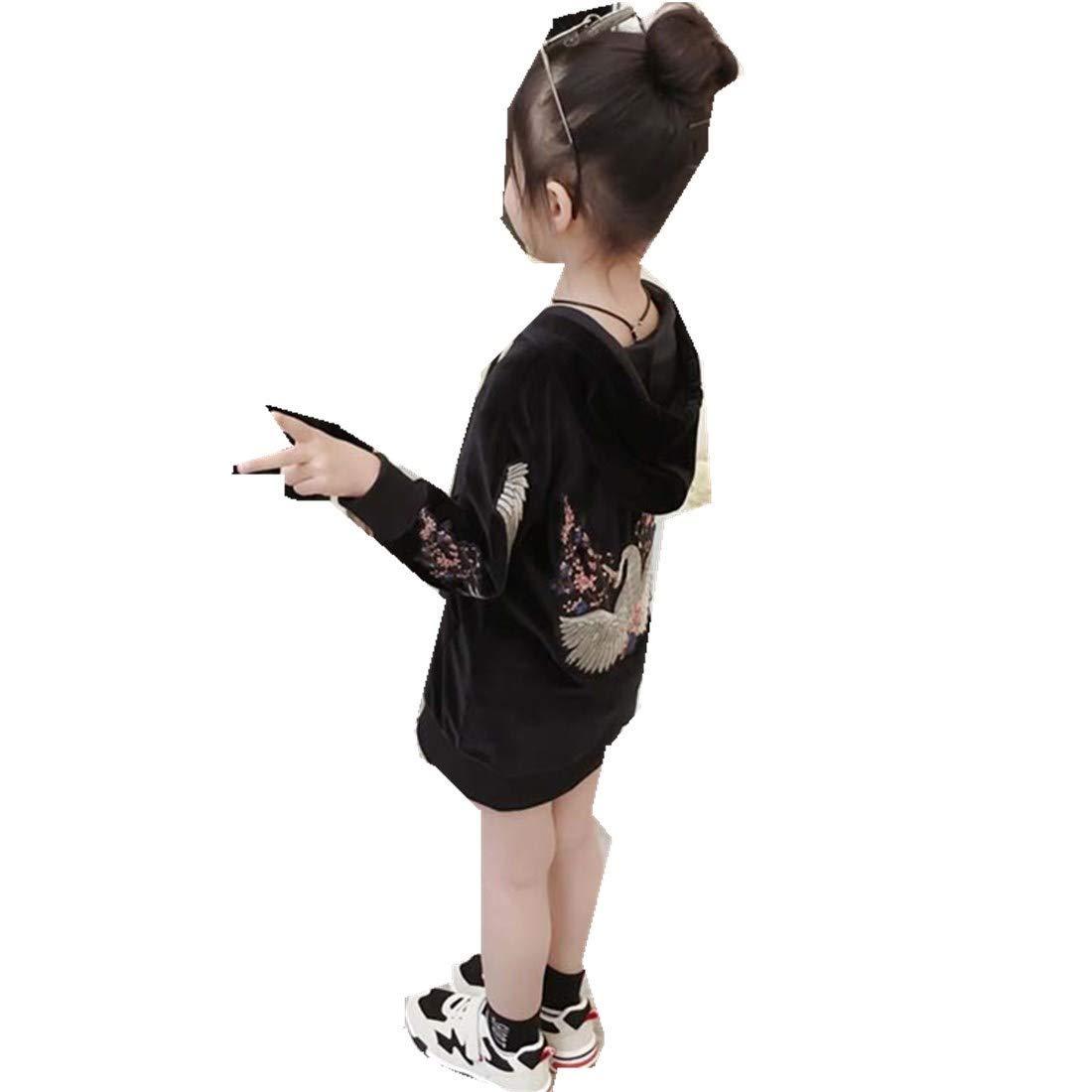 MV Childrens Clothing Autumn Girls Velvet Sweater Korean Embroidery Long Section