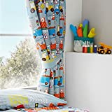 Happy Linen Co Big Digger Trucks Tractor JCB Boys Kids Grey Blue Pencil Pleat Curtains 66' x 72'