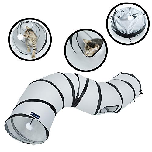 PetLike S Way Cat Tunnel Collapsible Pop-up Pet Tube Hideaway Play Toy with Ball Cat Tube Toy