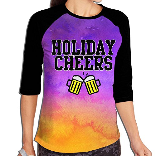 Christmas Holiday Cheers Irish Women's Printing Raglan Half Sleeve Tops Sweatshirt T-Shirt XL