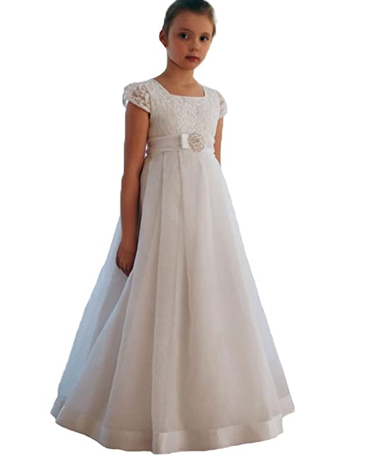 ba56768134b9 Image not available for. Color: QiJunGe Short Lace Cap Sleeve Flower Girl  Dresses First Communion Dress Ivory US 2