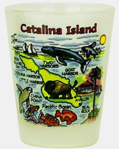 Catalina Island California Frosted Map Design Shot Glass