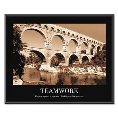 - Advantusamp;reg; amp;quot;Teamworkamp;quot; Framed Sepia-Tone Motivational Print, 30w x 24h