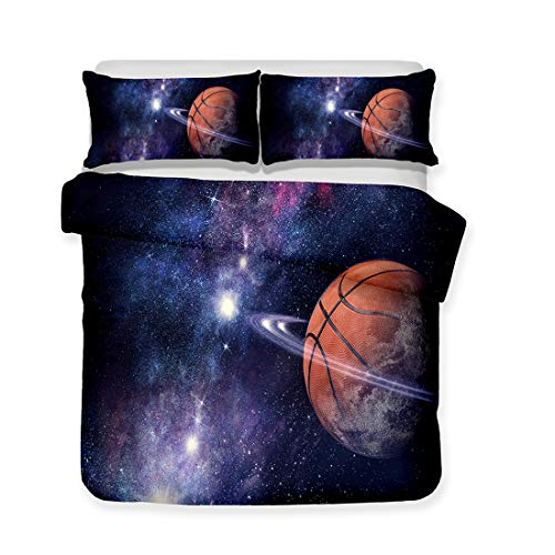 (Homebed 3D Basketball Duvet Cover 3 Piece Set Full Basketball Planet Boy's Soft Breathable Antiallergic Bedding Set Polyester Yoga Bedding Include 2 Pillow Case, 1 Duvet Cover Starry Sky)