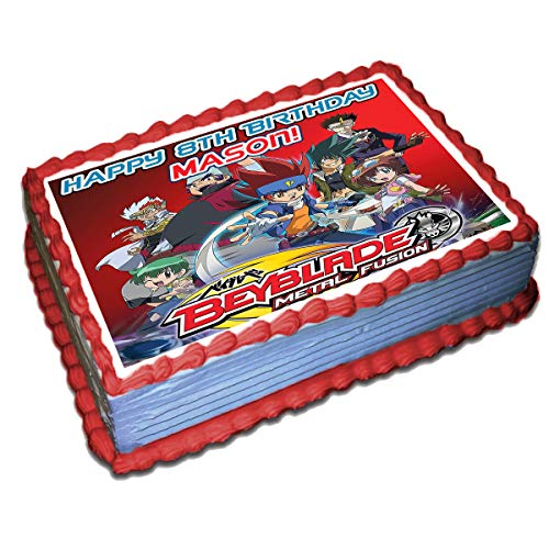 (Beyblade Personalized Cake Toppers Icing Sugar Paper 8.5 x 11.5 Inches Sheet Edible Frosting Photo Birthday Cake Topper (Best Quality Printing))