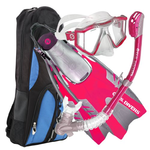 (U.S. Divers Lux Platinum Snorkeling Set, Panoramic View Mask, Pivot Fins, Dry Top Snorkel + Gear Bag, Raspberry L/XL)