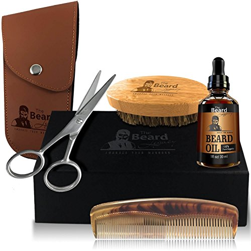 BEARD GROOMING TRIMMING GROWTH KIT+Pouch+Gift Box+Beard Oil Unscented Organic Argan & Jojoba Oil+Stainless Steel Scissors+5