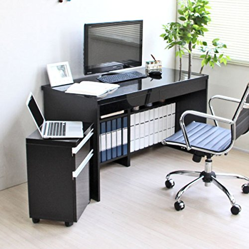 【予約販売7月下旬入荷予定】パソコン デスク 鏡面 120cm 幅 チェスト付 2点セット ブラック SAV007 B008VOIDN8