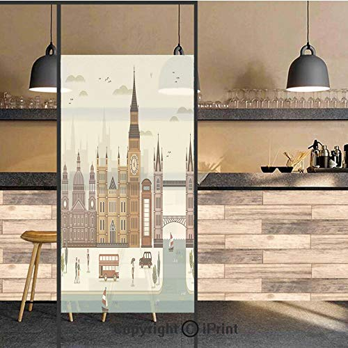 3D Decorative Privacy Window Films,Attractive Travel Scenery Famous City England Big Ben Telephone Booth Westminster,No-Glue Self Static Cling Glass film for Home Bedroom Bathroom Kitchen Office 24x48 (Telephone Concord)