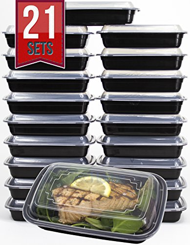 [21 SETS] 24 Oz. Meal Prep Containers BPA Free Plastic Reusable Food Storage Container Microwave & Dishwasher Safe For Portion Control & Bento Box Lunch Box