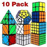 speed cube set, aitey cube bundle 2x2 3x3 4x4 5x5 pyramid megaminx skew mirror ivy windmill sticker
