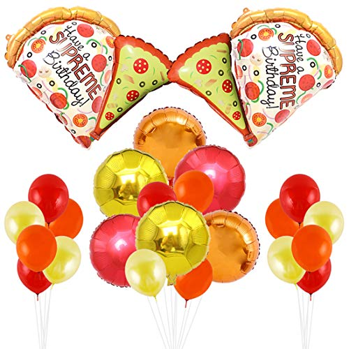 KREATWOW Pizza Party Decorations - Pizza Balloons Mylar for Birthday Party Supplies]()