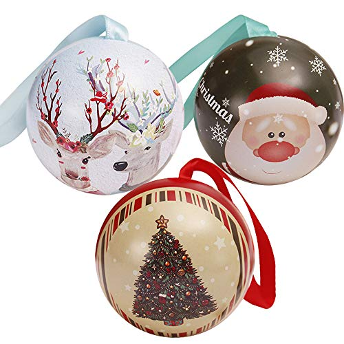 NEARTIME Tinplate Round Ball Boxes Galaxy Reindeer Santa Tree Hanging Decorations Party (Free Size, -