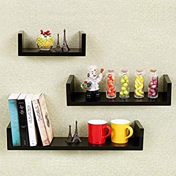 Set Of 3 Floating Shelves U Shape Wall Mounted Bookshelf Storage Display Black