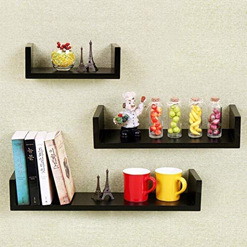 Set of 3 Floating Shelves U Shape Wall Mounted Bookshelf Storage Display Shelves (Black)