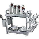 Uniware 2 Tier Aluminum Kitchen Utensils Rack & Shelf Holder Organizer (22 Inch, Off White)