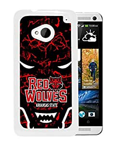 NCAA Arkansas State Red Wolves 3 White Customize HTC ONE M7 Phone Cover Case