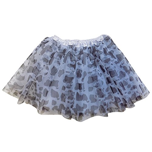 So Sydney Adult Teen 3 Layer Tutu Skirt - Princess Costume Ballet Party Dance Race Outfit (Cow)]()
