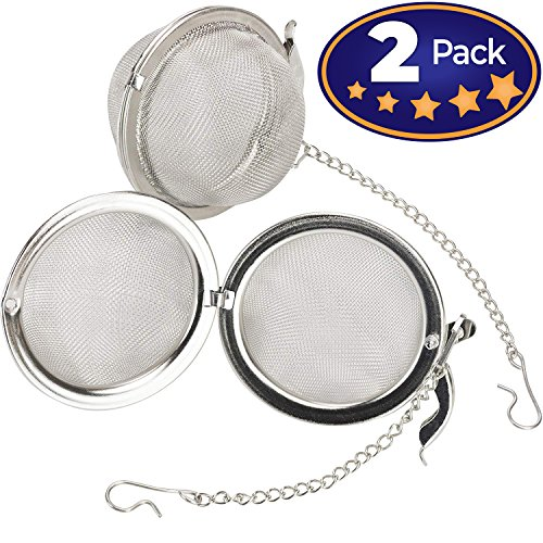 Premium Stainless Steel Tea Ball Infuser 2 Pack By Avant Grub. 2 Strainer Filters Loose Leaf Teas to Make The Perfect Cup or Pot. No Bags Required. Hook and Chain Make Removal A Breeze by Avant Grub