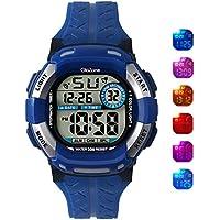 [Patrocinado] Reloj digital para niños 7-color Luz Intermitente, resistente al agua 100ft Reloj despertador para Kid Edad 4–12(Azul)