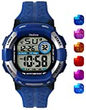 Kids Watch Boys Digital 7-Color Flashing Light Water Resistant 100FT Alarm Watch for Age 4-10 485C (Blue)