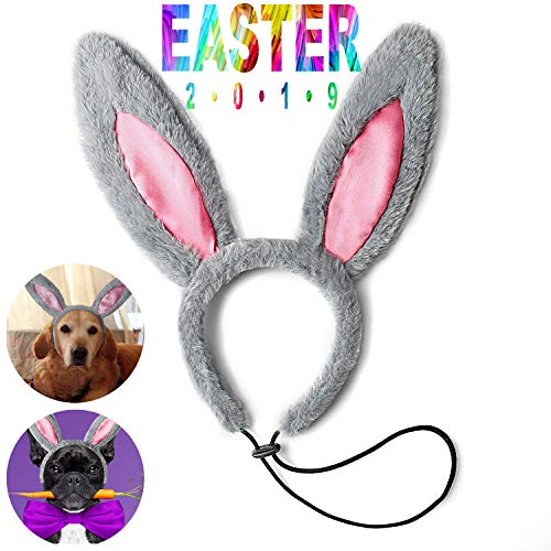 Toozey Easter Bunny Ears for Dogs, Dog Easter Costume Elastic Adjustable Rabbit Ears for Medium/Large Dogs