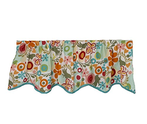 Cotton Tale Designs 100% Cotton Lizzie Multi Color Turquoise, Pink, Orange, Red Floral & Butterflies Straight Scalloped Valance Window Treatment