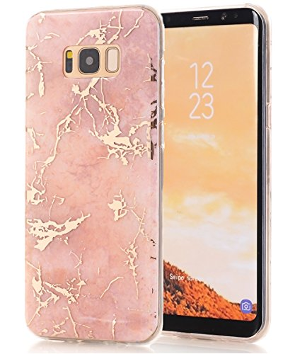 Galaxy S8 Plus Case,Spevert Marble Pattern Hybrid Hard Back Soft TPU Raised Edge Ultra-Thin Shock Absorption Slim Protective Cover Case for Samsung Galaxy S8 Plus/S8+ (Rose Gold)