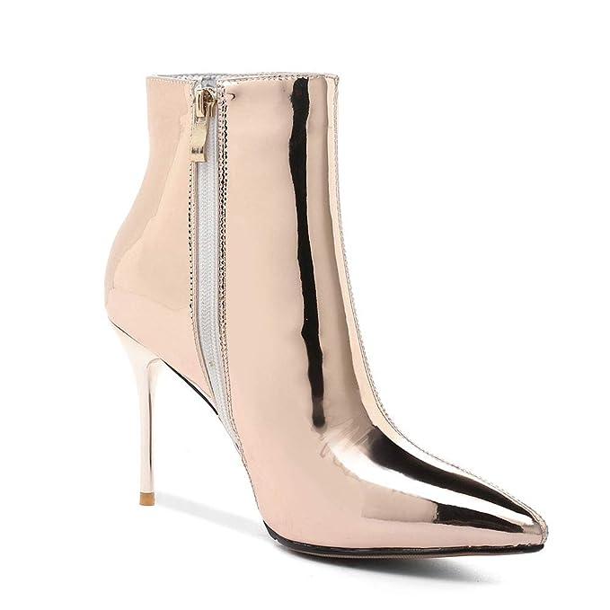 Los Botines De Las Mujeres De Otoño E Invierno Nuevas Botas De Pintura De Espejo De Tacón Alto Botas Cálidas Zapatos Al Aire Libre Resistentes Al Desgaste: ...