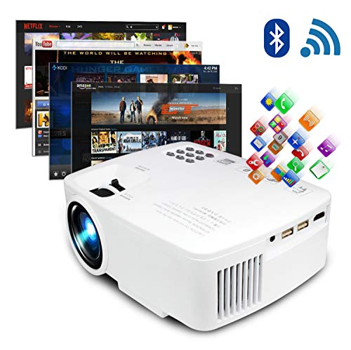 ERISAN Projector Video Home TV Theater, LED Android 6.0 WiFi Bluetooth, 220 ANSI Lumen, Support 1080P Full HD, iOS Compatiable, 2019 Updated Quieter Fan, Mini Smart Video Beam, Multimedia Party Games
