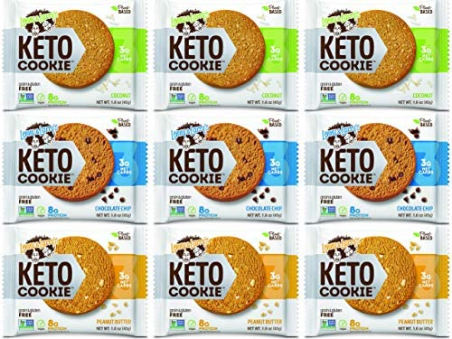 The Complete Keto Cookie, Variety Sampler Pack 3 Flavors, 1.6oz – 9 Count, Low Carb, Plant-Based Protein Cookies, Vegan and Non-GMO, by Adventure Box