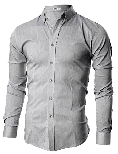 Ohoo Mens Slim Fit Long Sleeve Flexibility Casual Button Down Shirt Added Darts
